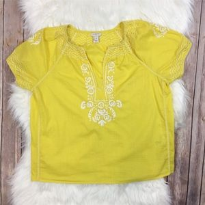 J. Crew Factory | V-Neck Peasant Top Yellow Small
