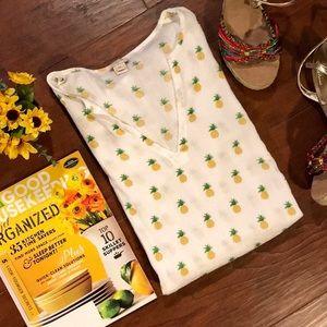 J. Crew 100% Cotton White Pineapple Tunic