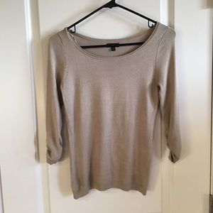 Express tan taupe knit sweater top blouse XS