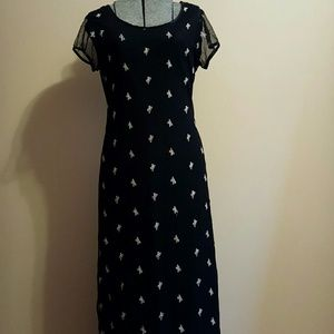 Vintage 90's Black Butterfly Maxi Dress