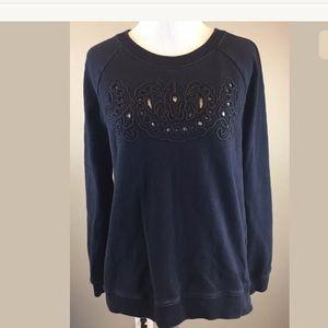 Madewell Woman's Navy Cutout Cotton Sweatshirt M