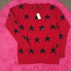 Express red sweater with stars