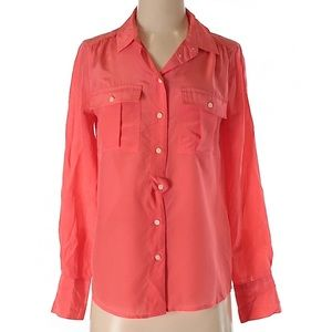 J. Crew 100% silk solid Coral shirt