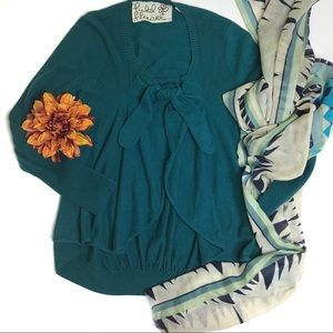 Anthropologie Teal Field Flower Cardigan Sweater