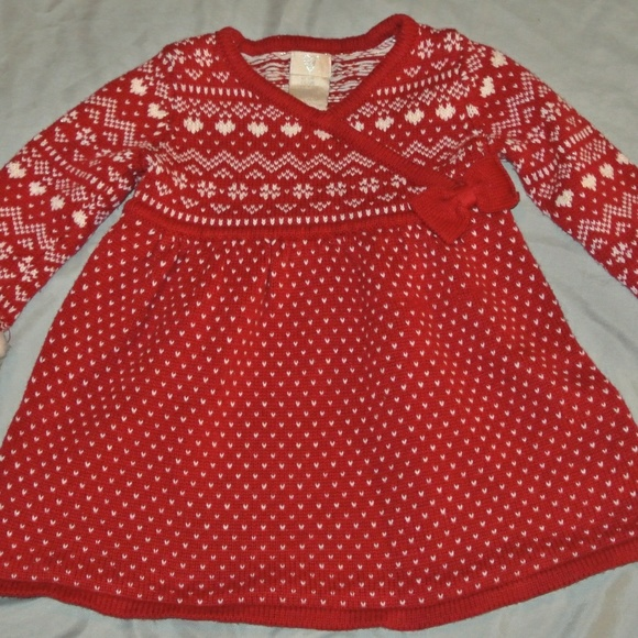 56% off Other - Baby Girl Red Fair Isle Dress Christmas Holiday 12 ...