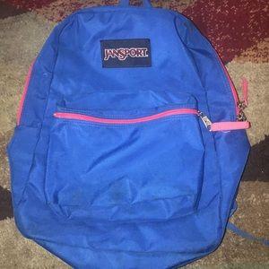 Jansport blue backpack red trim