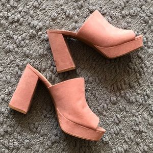 H&M Pink Peep Toe Mules