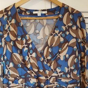 Boden blue/brown/tan patterned 100%rayon dress