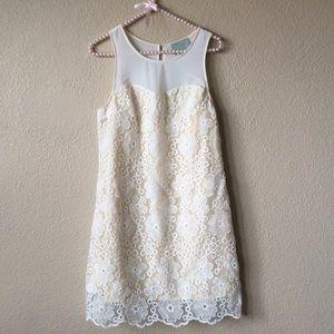 Skies Are Blue Lace Scalloped Mini Dress