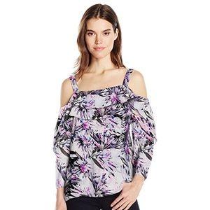 nydj // purple palm ruffled off-the-shoulder top