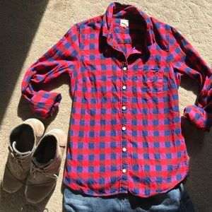 J. Crew The Perfect Shirt in red flannel