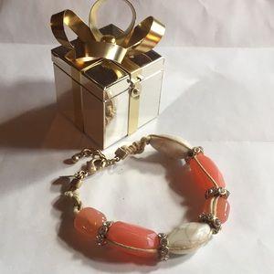 Lia Sophia Beaded jeweled hemp metal bracelet