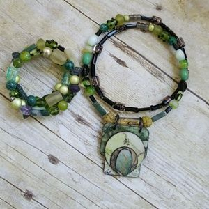 Jewelry - Handmade Asian wrap necklace and bracelet