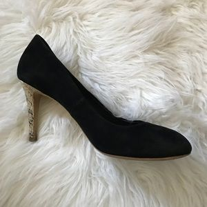Tory Burch Black Suede Pumps with Snakeskin