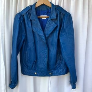Colbalt blue vintage Moto leather jacket