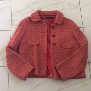 Zara salmon colored tweed jacket