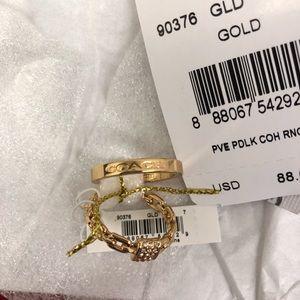 NWT PAVE PADLOCK COACH RING SET size 7 Gold