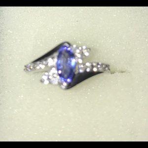 Tanzanite with white zircon ring, marquis cut