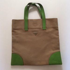 Authentic Prada Beige Canvas Green Leather Tote