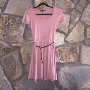 Mauve Fit & Flare Dress with Belt