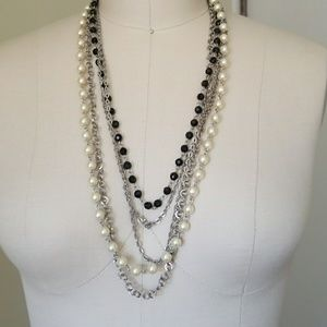 Multi Layered black and pearl necklace