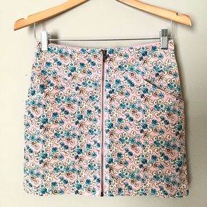 Floral Zip Up Corduroy Trendy A-Line Mini Skirt