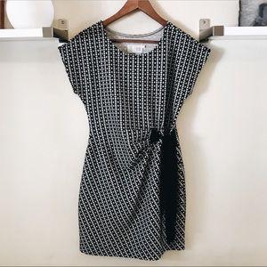 Anthropologie Black and White Geometric Tie Dress