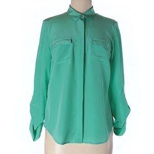 J. Crew 100% silk teal shirt