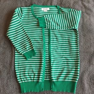 F21 Green & White Cardigan