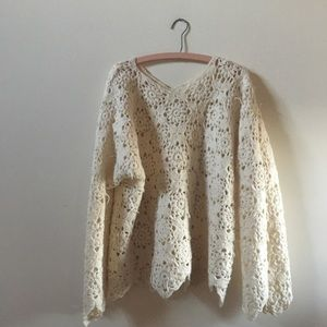 Vintage Wool Crochet Bell Sleeve Sweater