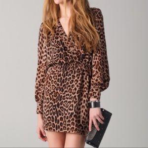 Parker Leopard Print Crossover Silk Dress