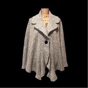 Cape Sweater Coat Black & White Heather Wool Blend