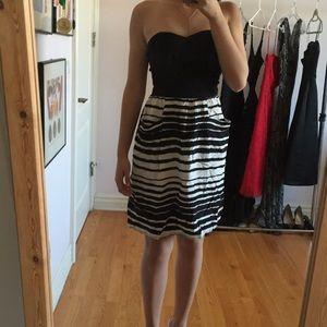 Black and White Striped Strapless Dress