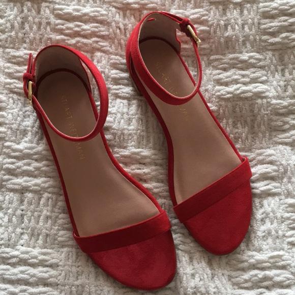 39d2140dfd97a Stuart Weitzman Shoes | Nudist Flat Red Suede Sandal | Poshmark