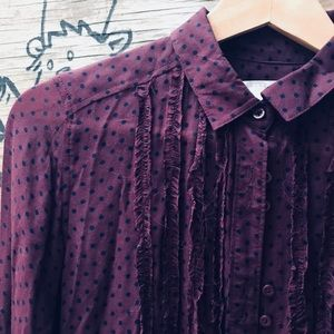 Cooperative plum & black polkadot blouse, size S