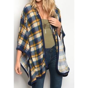 Navy and Mustard Plaid Cardigan