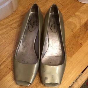Prada Kitten Peep Toe Metallic Shoes-Vintage