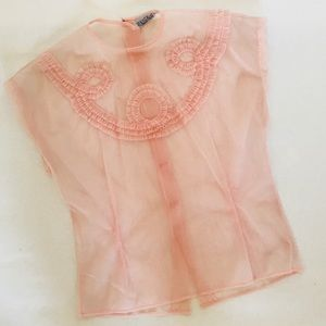 Sheer pink crop top