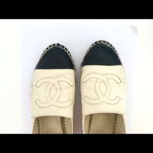 Authentic CHANEL Black White leather espadrilles