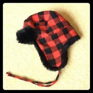 J.Crew Red Black Plaid Aviator Hat with Black Fur
