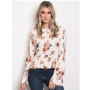 Ivory Floral Bell Sleeve Top