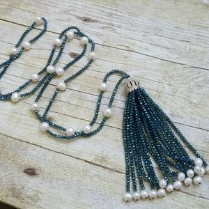 Beautiful beaded tassel and pearl necklace