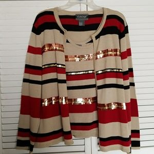 Women's XL 2 piece tank/sweater set for Holidays