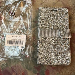 iPhone 7plus All Silver sparkled Wallet style case
