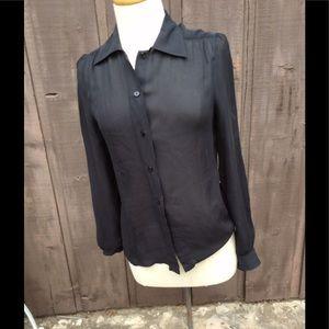 Vintage black silk chiffon blouse