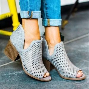 Grey Ankle Booties Perforated Side Cutout Boots
