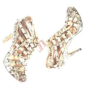 Franco Sarto VANNA Tan Cage Sandals 8m