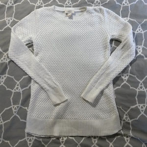 Ann Taylor LOFT white cotton crewneck sweater