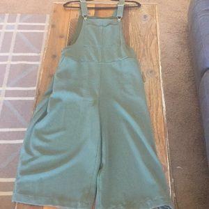 Wide leg green overalls
