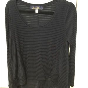 Navy see through high to low shirt